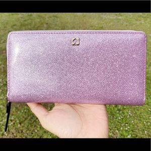 SALE‼️ Kate spade lilac glitter zip around wallet